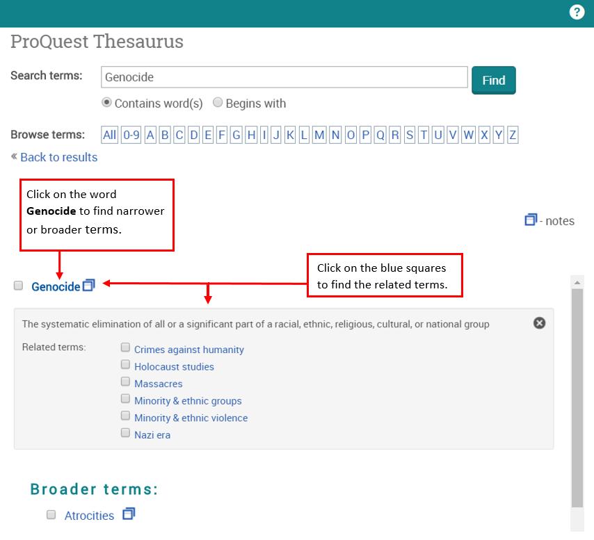 Screenshot of the ProQuest Thesaurus.